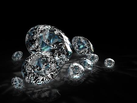 diamonds group isolated on black background Stock Photo - 8548212