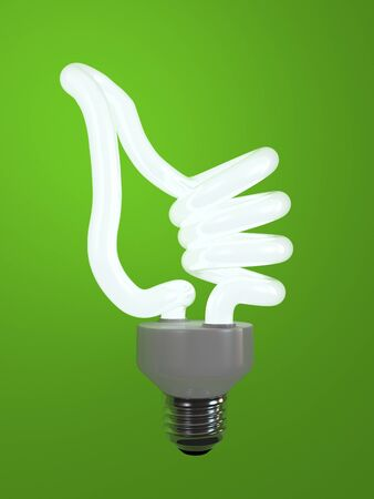 super bulb concept energy saving fluorescent isolated on green background photo