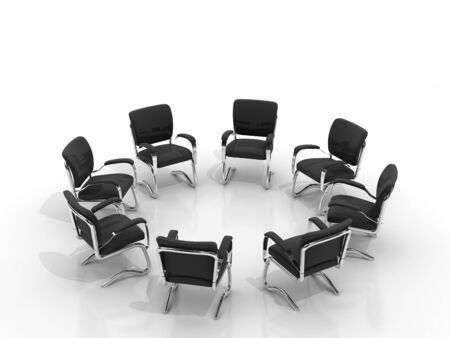 chairs arranging round small group isolated on white background Stock Photo - 8548169
