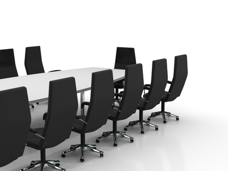 empty room: conference table and chairs isolated on white background Stock Photo