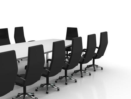 table de conférence et de chaises isolés sur fond blanc Banque d'images