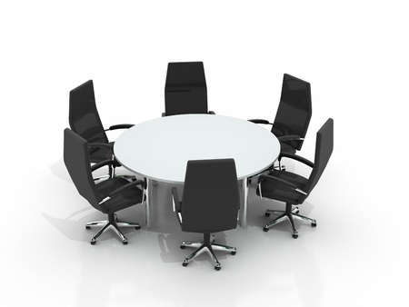boardroom meeting: conference table and chairs isolated on white background Stock Photo