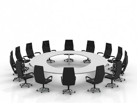 round chairs: conference round table and chairs isolated on white background Stock Photo