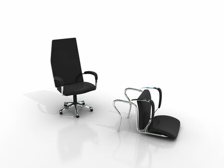 business knockout - two chairs stand and lying down - isolated on white background