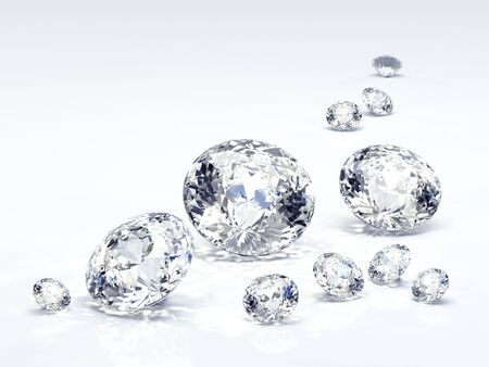 Diamond jewel isolated on light blue background. Beautiful sparkling diamond on a light reflective surface. High quality 3d render with HDRI lighting and ray traced textures.