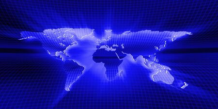 graticule: world map blue background