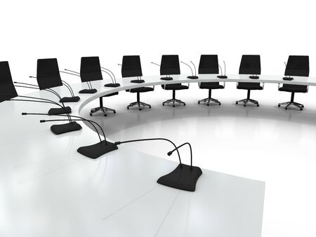 conference table and chairs with microphones isolated on white background photo