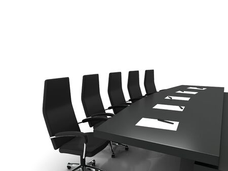 conference table and chairs with papers and pens isolated on white background photo