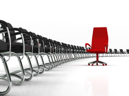 red leader chair with large group of black chairs isolated on white background