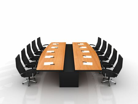 boardroom meeting: conference table and chairs with papers and pens isolated on white background