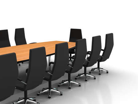 conference table and chairs with papers and pens isolated on white background