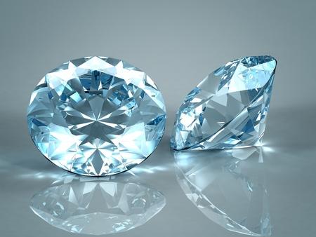 scintillate: Diamantes jewel aislado sobre fondo azul claro. Hermosos diamantes espumosos en una superficie reflectante de luz. Procesamiento de 3d de alta calidad con iluminaci�n HDRI y texturas de ray remontar.