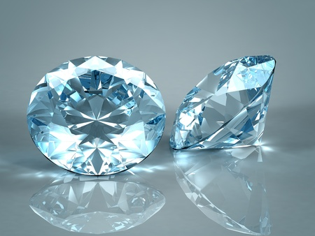 Diamonds jewel isolated on light blue background. Beautiful sparkling diamonds on a light reflective surface. High quality 3d render with HDRI lighting and ray traced textures. 免版税图像