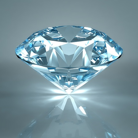 Diamond jewel isolated on light blue background. Beautiful sparkling diamond on a light reflective surface. High quality 3d render with HDRI lighting and ray traced textures. photo