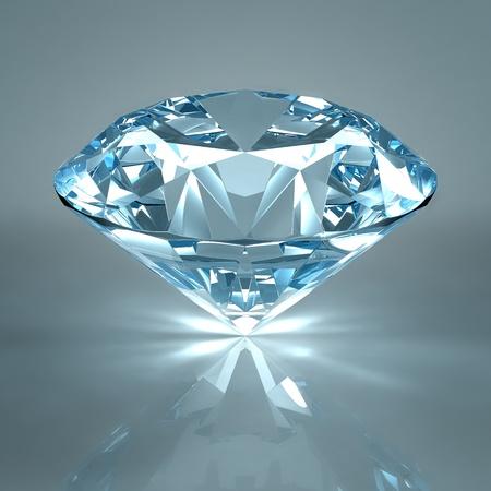 diamante negro: Joya de diamante aislado en fondo azul claro. Hermoso diamante espumoso en una superficie reflectante de luz. Procesamiento de 3d de alta calidad con iluminaci�n HDRI y texturas de ray remontar. Foto de archivo