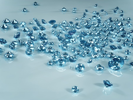 karat: Diamond scattering isolated on light blue background. Beautiful sparkling diamond on a light reflective surface. High quality 3d render with HDRI lighting and ray traced textures. Stock Photo