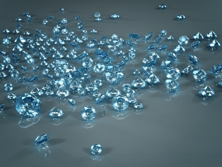karat: Diamond placer isolated on blue background. Beautiful sparkling diamond on a light reflective surface. High quality 3d render with HDRI lighting and ray traced textures. Stock Photo