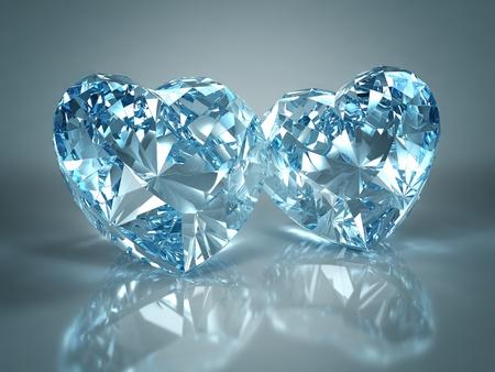 scintillate: Coraz�n de joya de diamantes aislado en fondo azul claro. Hermosos diamantes espumosos en una superficie reflectante de luz. Procesamiento de 3d de alta calidad con iluminaci�n HDRI y texturas de ray remontar.