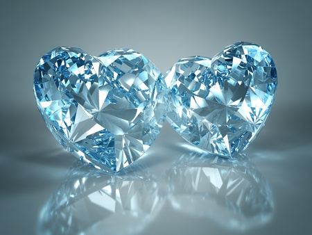 Diamonds jewel heart isolated on light blue background. Beautiful sparkling diamonds on a light reflective surface. High quality 3d render with HDRI lighting and ray traced textures.