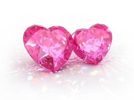 scintillate: Corazones de joya de diamantes para el d�a de San Valent�n aislado sobre fondo claro. Hermosos diamantes espumosos en una superficie reflectante de luz. Foto de archivo
