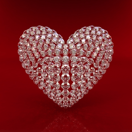 Diamond heart on red background - 3d render. Beautiful sparkling diamond on a light reflective surface. High quality 3d render with HDRI lighting and ray traced textures.