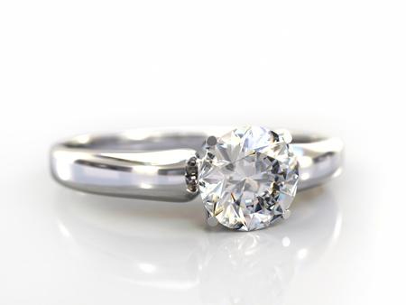 anillos de boda: Regalo de boda de anillo de diamante aislado. Cerca de un anillo de oro blanco con diamantes. Hermoso diamante espumoso en una superficie reflectante de luz. Procesamiento de 3d de alta calidad con iluminaci�n HDRI y texturas de ray rastreado.