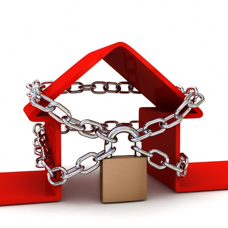 House locked with padlock on white background. Security concept. High quality 3D render.