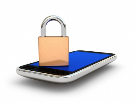 Mobile phone and lock isolated on white background. Security concept. High quality 3D render. Stock Photo - 9134656