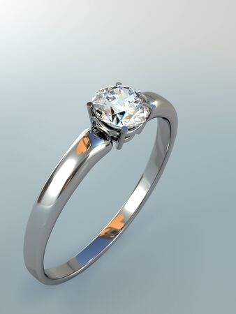 Diamond Ring wedding gift isolated. Close Up of a White Gold Ring with Diamonds. Beautiful sparkling diamond on a light reflective surface. High quality 3d render.