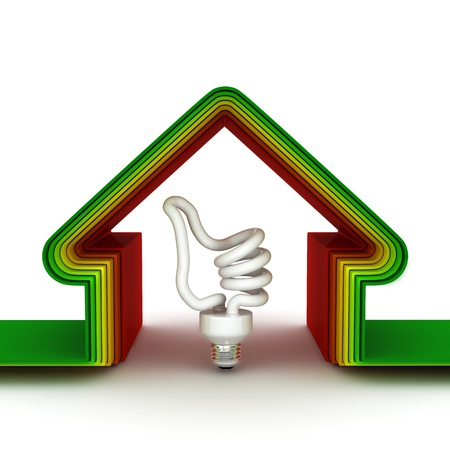 energy saving home scale.  Energy saving concept. 3d render. photo