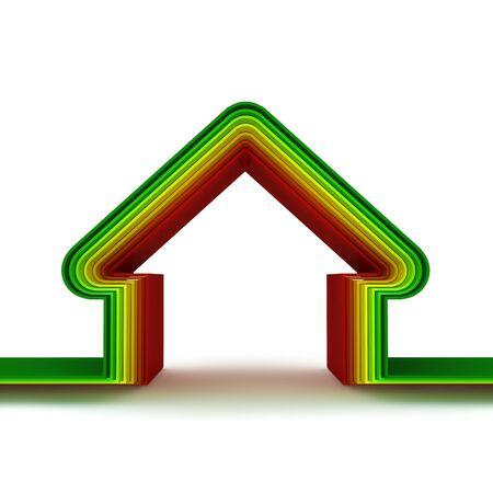 effizient: Energie-Spar-home Skala.  Energie-Spar-Konzept. 3D Render.
