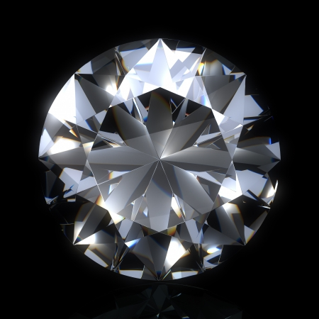 diamond stone on black space. Beautiful sparkling diamond on a light reflective surface. High quality 3d render with HDRI lighting and ray traced textures.