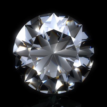 black diamond: piedra de diamante en espacio negro. Hermoso diamante espumoso en una superficie reflectante de luz. Procesamiento 3d de alta calidad con iluminaci�n HDRI y texturas de ray remontar.