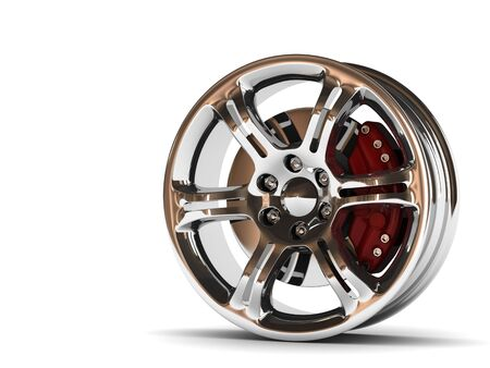 close up rendering part of chrome car rim. High quality 3d render with.