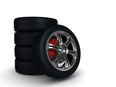 wheels with steel rims over the white background. High quality 3d render with.