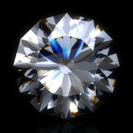diamond stone on black space. Beautiful sparkling diamond on a light reflective surface. High quality 3d render with.