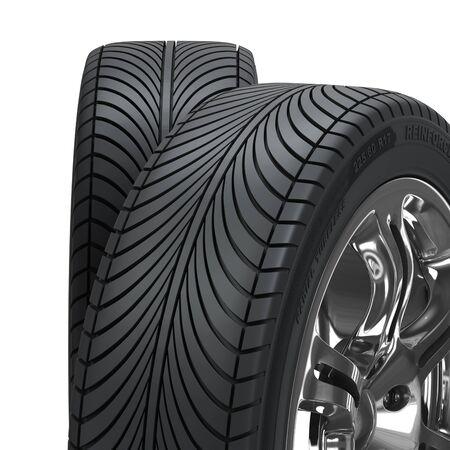 aluminum wheels: Rueda cromado con llantas aisladas sobre fondo blanco. Render 3d de alta calidad con.