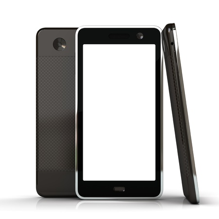 Touchscreen smart phone with abstract background isolated on the white background Stock Photo