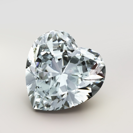 diamond heart shape isolated on white background - 3d render Stock Photo - 14829849