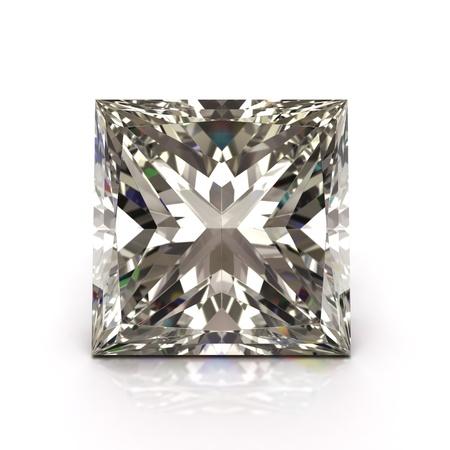 princesa: Princess cut diamond on white diamantes joya de alta calidad 3d con iluminaci�n HDRI y texturas trazado de rayos Foto de archivo