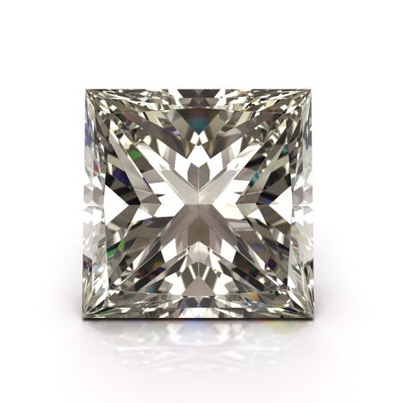 Princess cut diamond on white  Diamonds jewel   High quality 3d render with HDRI lighting and ray traced textures  免版税图像