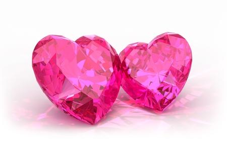 corazon rosa: Corazones del diamante aislado en fondo hermoso luz diamantes brillantes en una superficie reflectante a la luz Foto de archivo