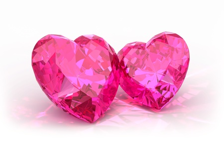 Diamond hearts  isolated on light background  Beautiful sparkling diamonds on a light reflective surface  photo