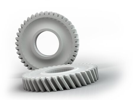 to revolve: Plastic gears isolated on white background