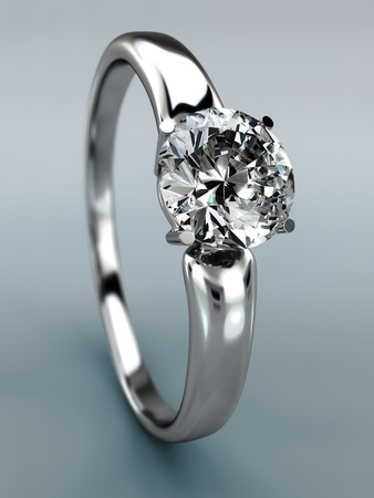 Diamond Ring wedding gift isolated  Close Up of a White Gold Ring with Diamonds  photo