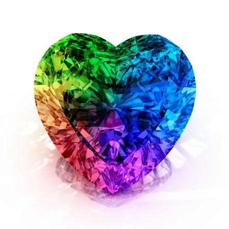 corazones azules: arco iris en forma de coraz�n del diamante aislado en el fondo blanco - 3d hacer