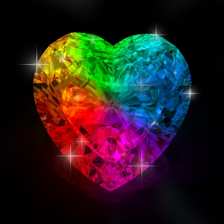 rainbow diamond heart shape  isolated on black background - 3d render