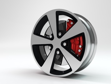Car wheel high quality 3d render  photo