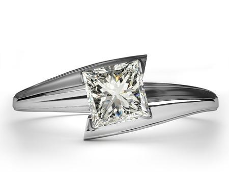 ring engagement: Regalo del anillo de bodas aislado Primer plano de un anillo de oro blanco con diamantes brillante diamante hermoso en una superficie reflectante a la luz