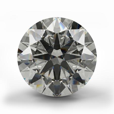 Bovenaanzicht van ronde diamant Mooie fonkelende diamant op een lichte reflecterend oppervlak Hoge kwaliteit 3d render Stockfoto